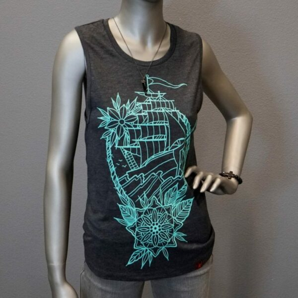 """Clipper Ship Muscle Tank"" By Jason Tritten (Grey)"
